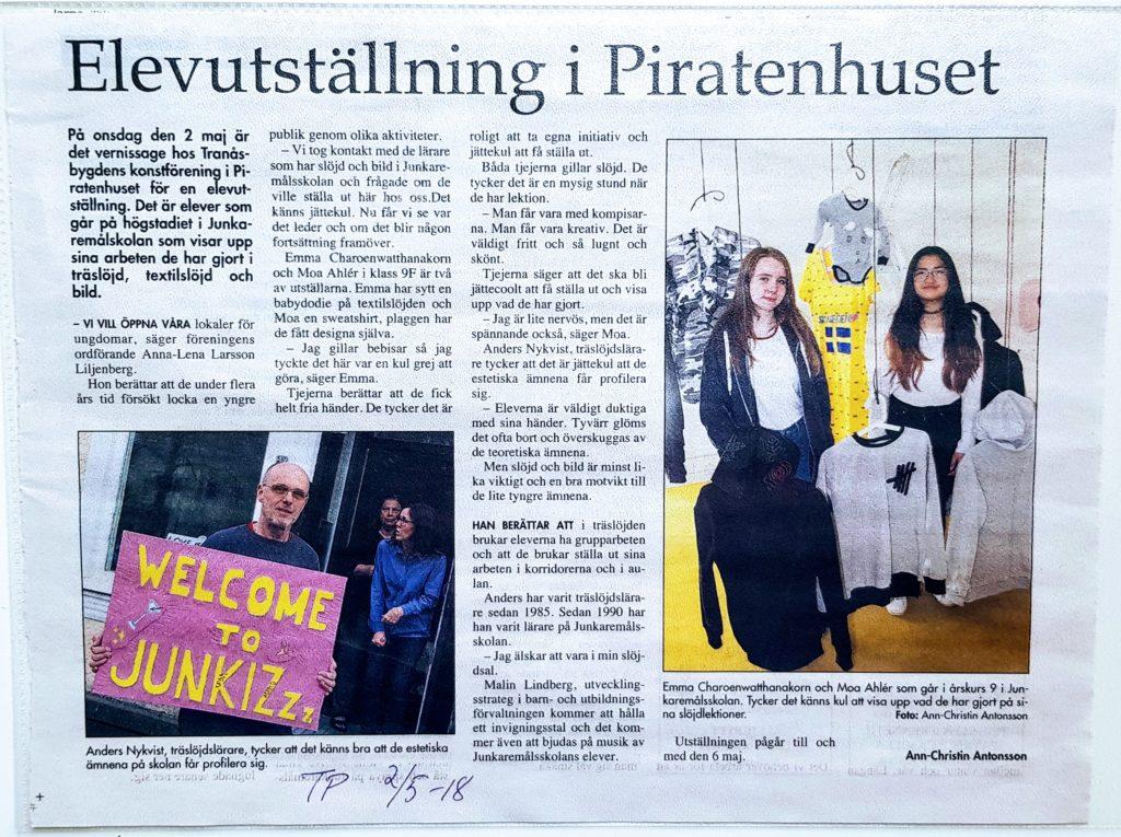 Artikel i Tranås Posten den 2 maj 2018